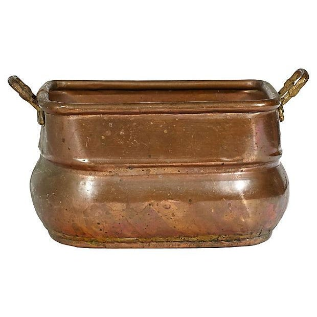 Rectangular Copper Handled Utility Bowl For Sale - Image 4 of 4