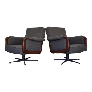 Danish Modern Gray Lounge Chairs - A Pair