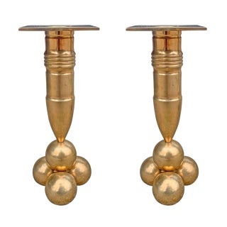 Mid 20th Century Bronze Candlesticks by Gusum Mässing - a Pair For Sale
