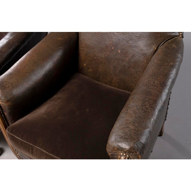All Original French Art Deco Leather Club Chairs With Velvet Cushions-A Pair For Sale - Image 12 of 13