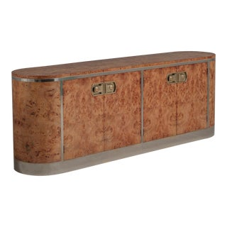 A Rare Burr and Chrome Four-Door Cabinet by Mastercraft, 1970s For Sale