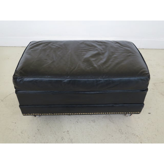 Sherrill Black Leather Club Chair & Ottoman For Sale - Image 10 of 13