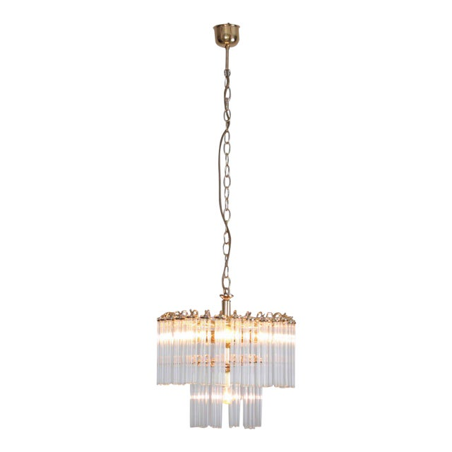 Two-Tier Glass and Brass Chandelier in the Manner of Venini For Sale