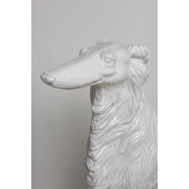 1970s Life-Size Borzoi in Italian White Glazed Terracotta For Sale - Image 5 of 10