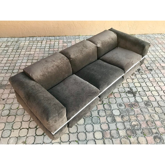 This is a truly rare sofa by Craft Associates. A low profile 70s sofa well built with a solid chrome frame wrapped...