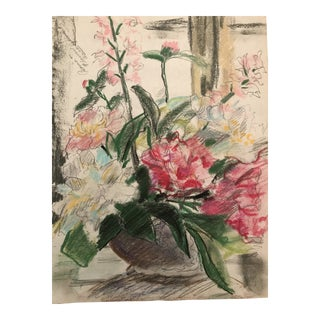 1950s Mixed Media Floral Still Life Drawing, Kansas City For Sale