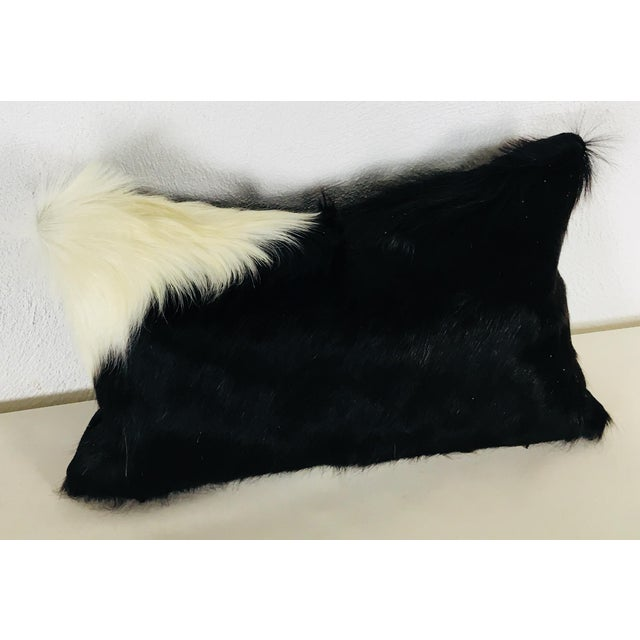 Boho Chic Black & White Natural Cowhide Pillow For Sale - Image 3 of 6
