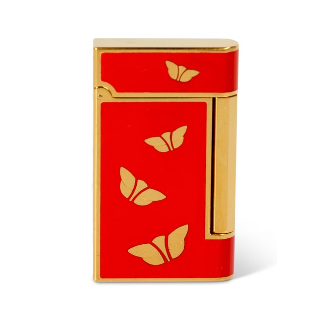 Asian 1970s Bulgari Chinoiserie Red Lacquer Gold Butterfly Lighter For Sale - Image 3 of 5