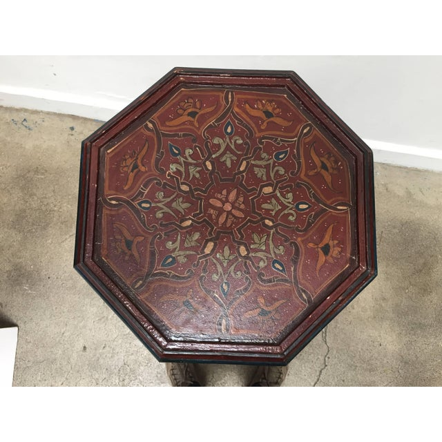 Hand-Painted Moroccan Pedestal Table For Sale - Image 12 of 13