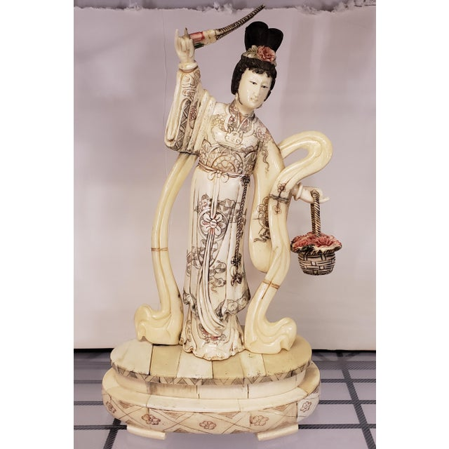 Early 20th Century Japanese Kuan Yin Performing Blessing Okimono Bovine Bone Carving For Sale In New Orleans - Image 6 of 6