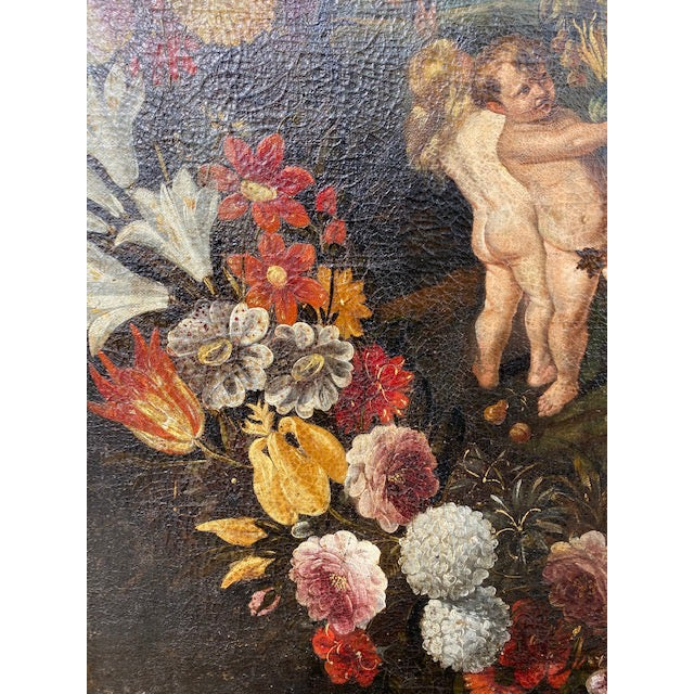 Canvas 17th C. Italian Flemish Cherub Painting With Floral Wreath Motif For Sale - Image 7 of 9