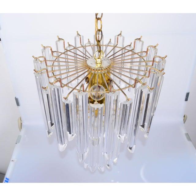 Mid-Century Modern Lucite & Brass Chandelier - Image 3 of 10