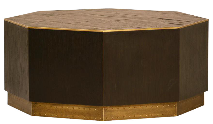 Wood U0026 Brass Octagon Coffee Table
