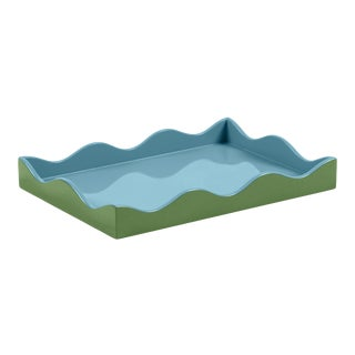 The Lacquer Company for Chairish Belle Rives Tray in Lettuce Green / Bluebird, Small For Sale