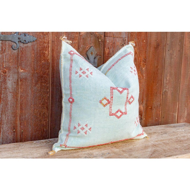 Tribal Zara Large Square Moroccan Silk Rug Pillow For Sale - Image 3 of 8