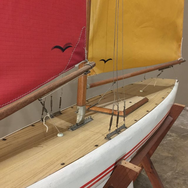 Acrilyc Polymer Mid-Century Scale 12 Meter Racing Yacht For Sale - Image 7 of 11