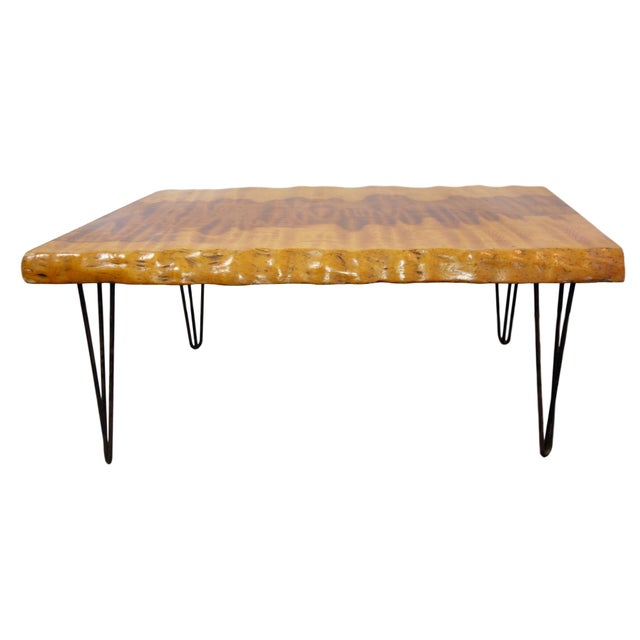 Mid-Century Modern Live Edge Burl Coffee Table With Hairpin Legs For Sale - Image 4 of 4