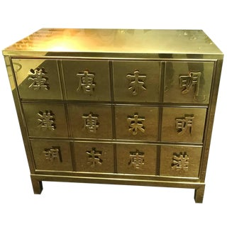 Mastercraft Brass Chest With Chinese Characters Signed For Sale