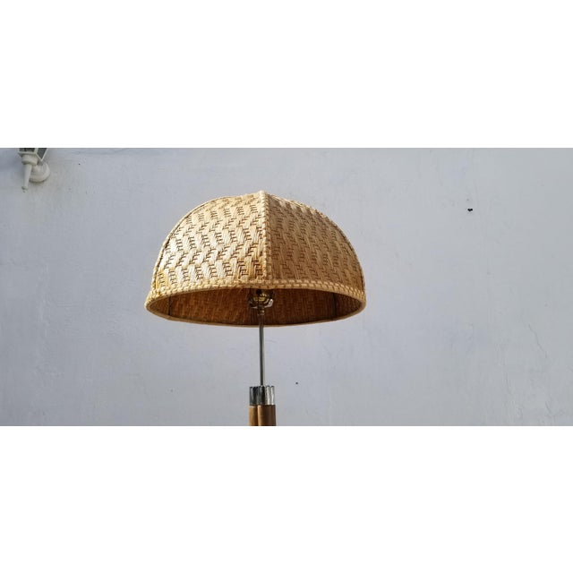 1970s Vintage Paul Frankl Style Rattan & Chrome Floor Lamp For Sale - Image 10 of 13