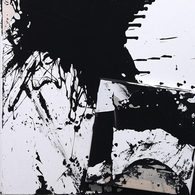 """Original Black and White Textural Painting """"0010"""" by Cole Altuzarra For Sale - Image 4 of 12"""