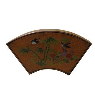 Chinese Distressed Yellow Birds Graphic Fan Shape Box For Sale