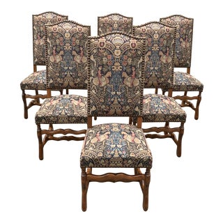 1900s Antique French Louis XIII Style Os De Mouton Dining Chairs - Set of 6 For Sale