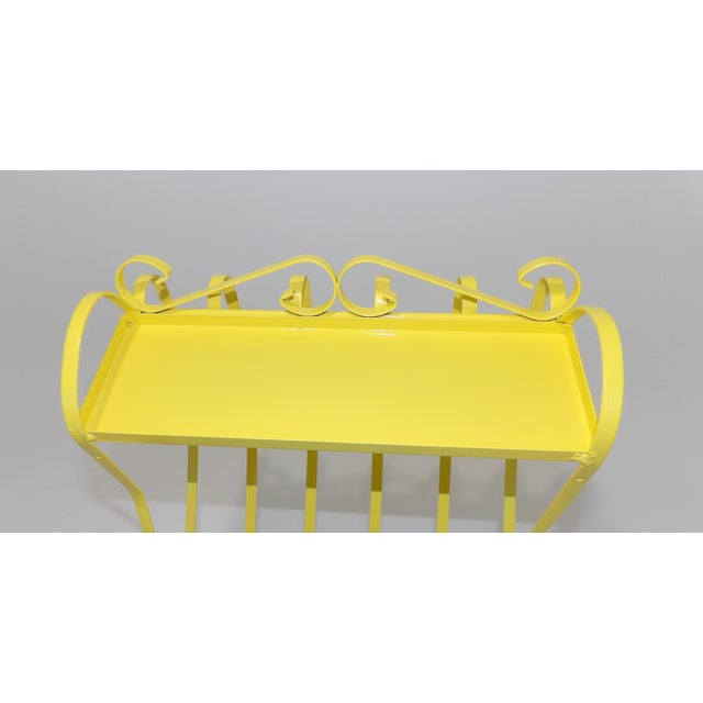 Yellow Antique Electric Yellow Wrought Iron Patio Shelf For Sale - Image 8 of 11