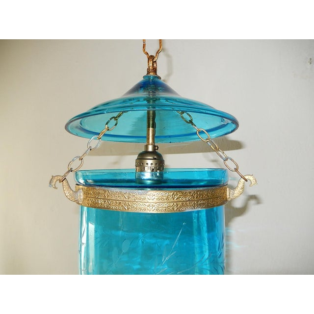 Late 19th Century 19th Century Cobalt Blue English Bell Jar Lantern Chandelier For Sale - Image 5 of 13