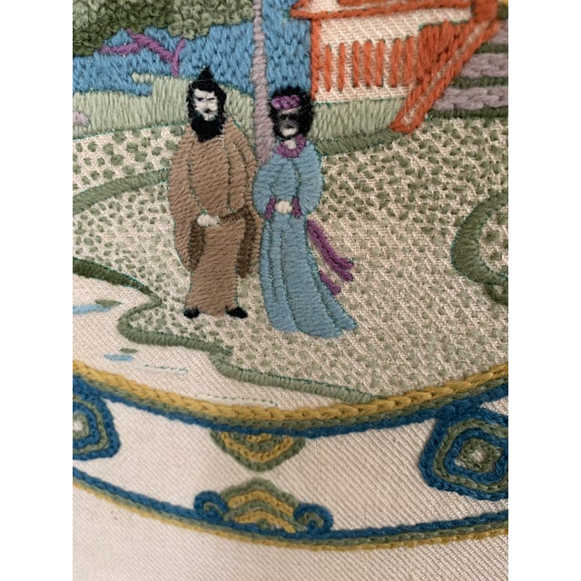 Vintage Chinoiserie Crewl Needlepoint Art Works - a Pair For Sale In New York - Image 6 of 12