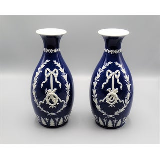 English Wedgwood Vases, Pair With Swags & Bows Preview