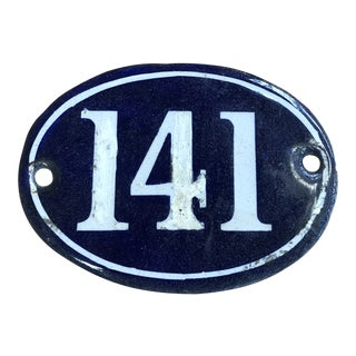 Late 19th Century French Navy Blue Enamel Over Metal Building Number 141 For Sale