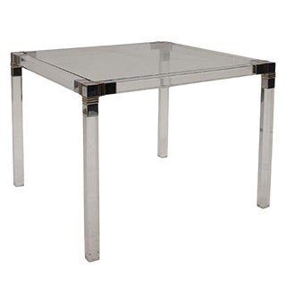 Square Lucite Side Table With Chrome and Brass Detailing For Sale