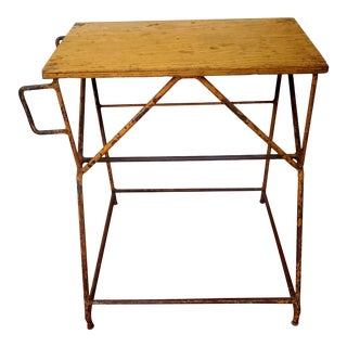 1950s Industrial Metal Side Table For Sale