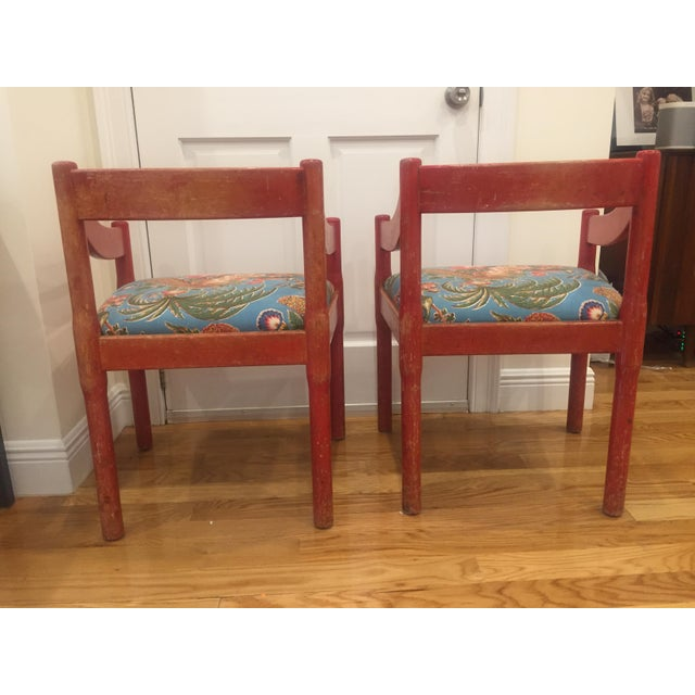 Canvas 1960s Vintage Red Carimate Chairs by Vico Magistretti for Cassina- A Pair For Sale - Image 7 of 11