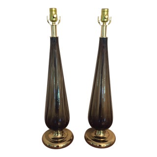 Vintage Murano Teardrop Lamps Smoky Brown - a Pair For Sale