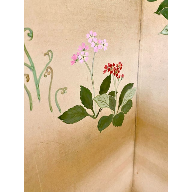 19th Century Japanese Byobu 6-Panel Table Screen With Summer Flowers For Sale In New York - Image 6 of 13