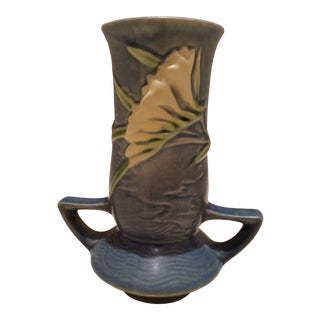 Fressia Roseville Blue Vase For Sale