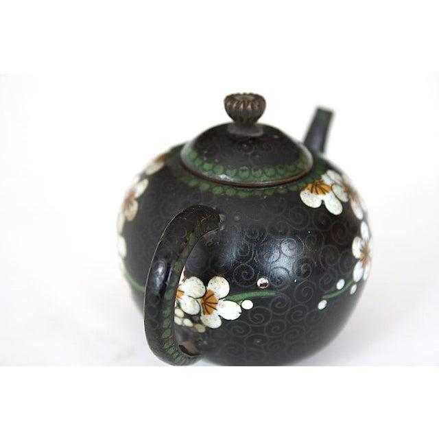 Black Antique Miniature Japanese Cloisonne Teapot For Sale - Image 8 of 13