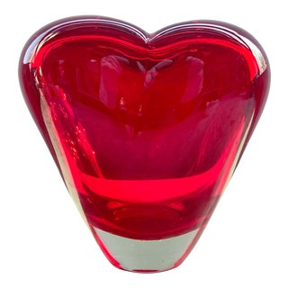 1970s Murano Large Red Heart Vase For Sale
