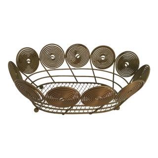 Mid-Century Spiral Brass Bread Basket For Sale