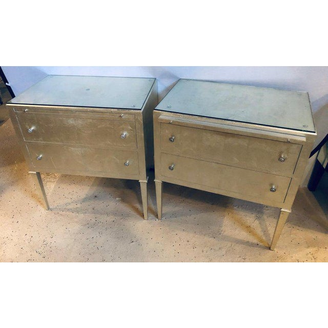 Glass Pair of Silver Gilt Commodes Chest of Drawers or Nightstands Mid-Century Modern For Sale - Image 7 of 12