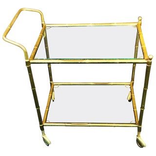 Modern Brass Bamboo Bar Cart For Sale