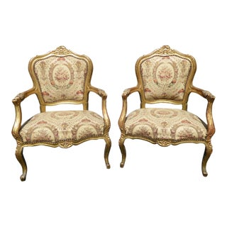 Pair of Antique French 19th Century Style Louis XVI Gold Rococo Ornate Accent Chairs For Sale