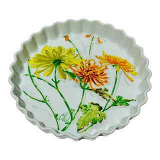 Chrysanthemum Quiche Pie Plate Painted for Seymour Mann For Sale