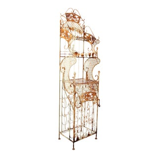 Vintage Wrought Iron Chinoiserie Hollywood Regency Wine Rack Bar For Sale