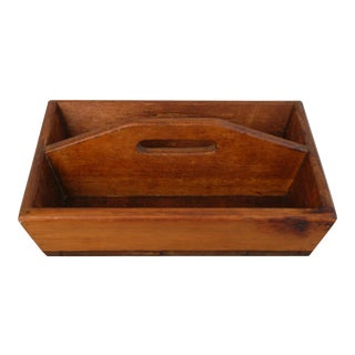 Antique French Wood Tote Tray For Sale