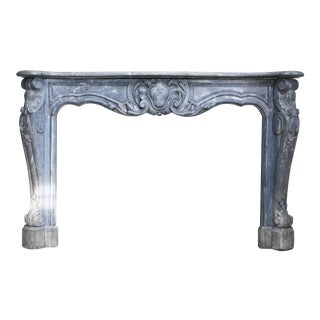 Antique Grey/Blue Marble Fireplace, 18th Century, Louis XV For Sale