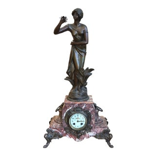 Antique French Marble & Bronze Clock For Sale