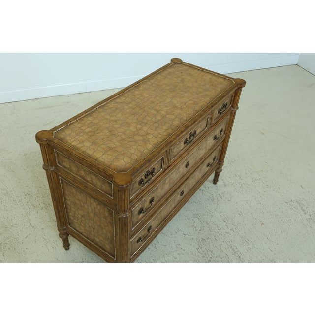 Metal Maitland Smith Regency Style Leather Wrapped Chest Dresser For Sale - Image 7 of 12