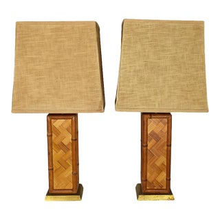 Square Brown Rattan Bamboo Lamps With Shades by Westwood Industries - 1970s a Pair For Sale